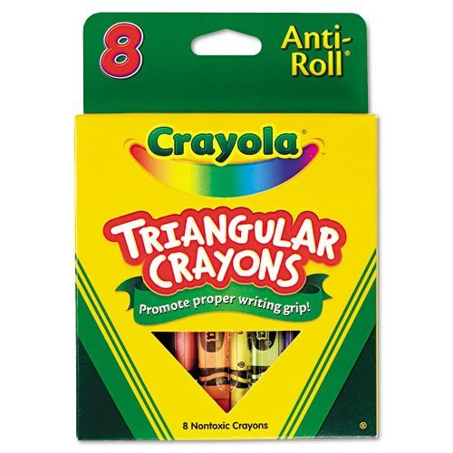 Crayola Anti-Roll Triangular Crayons, Assorted Colors 8 ea ( Pack of 12)