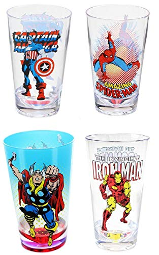 Marvel Carnival Cups Set of 4: Iron Man, Spider-Man, Thor, Captain ()