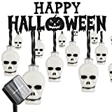 Halloween Outdoor Light, Hsctek Solar String Light with 8 Lighting Model, Waterproof & Light Senor for Yard, Garden(20ft,30 LED)(Colorful,Scary Skulls)