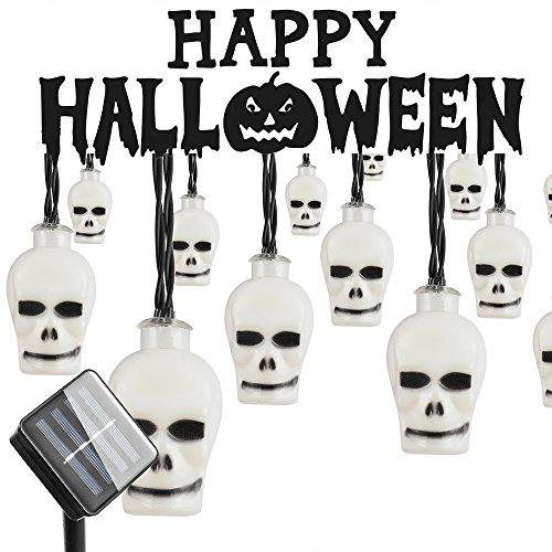 Halloween Outdoor Light, Hsctek Solar String Light with 8 Lighting Model, Waterproof & Light Senor for Yard, Garden(20ft,30 LED)(Colorful,Scary Skulls)