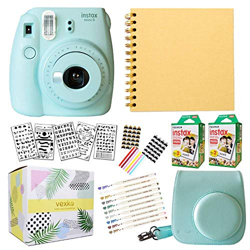 Fujifilm Instax Mini 9 Instant Camera (ICE Blue) + Fuji INSTAX Film (40 Sheets) + Bundle with: Groovy Camera Case + Scrapbook Photo Album + Stencils + Metallic Markers + Photo Corners (Mini Scrapbook Kit)