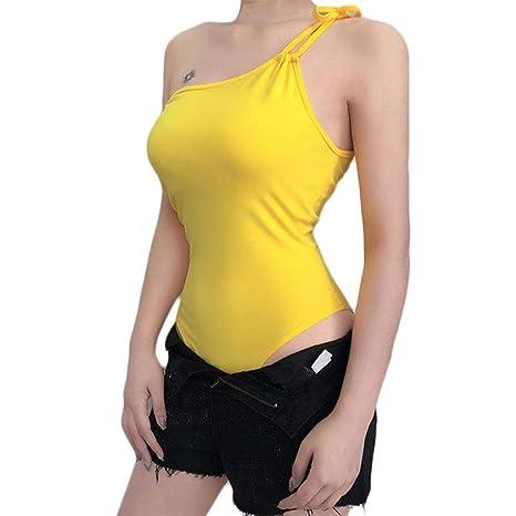 Womens One Shoulder Bodysuit Leotard Tops Blouse Jumpsuit Rompers Bodysuit Tank