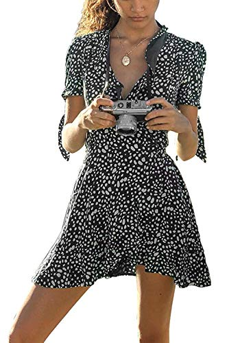 Shmily Girl Women's Dresses Summer Wrap V Neck Bohemian Floral Print Ruffle Swing A Line Beach Mini Dress (XL, -