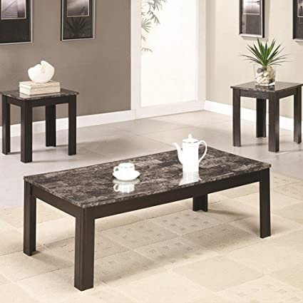 Remarkable 3Pc Coffee Table Set With Gray Marbleized Top Coffee Table And Two End Tables In Black Finish Item Vista Furniture Cf700375 Ocoug Best Dining Table And Chair Ideas Images Ocougorg