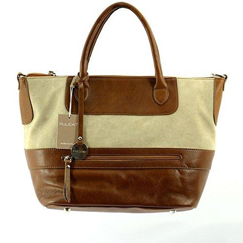 Pulicati Kleine Tasche für Damen aus Leder und Bes?tze aus Stoff Beige