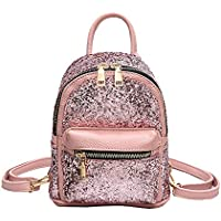 Girls Cute Sequin Mini Backpack Leather Purse Women Backpack Leather Cross Body Bag