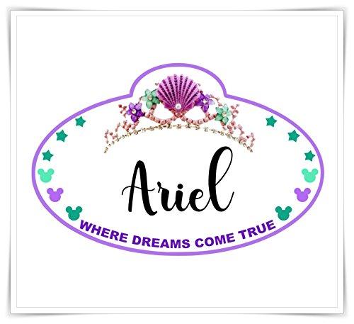 Personalized Disney Inspired Mermaid Name Tag Magnet. Handmade Disney Cruise Door Ariel Magnet.