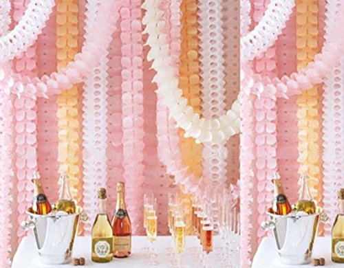 Hanging Garland, Pack of 8 White and Pink Four-Leaf Clover Tissue Paper Garland, Party Streamers for Party Backdrop Party Decorations, 11 Feet/3M per Each (White+Pink)
