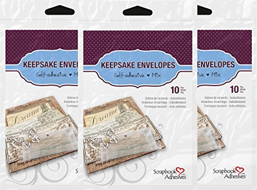 3L Scrapbook Adhesives Keepsake Envelopes, Mixed 10pk, Clear (3 Pack) by SCRAPBOOK ADHESIVES BY 3L