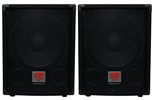 (2) Rockville SBG1124 12'' Passive Pro DJ Subwoofers Totaling 1200 Watt w/ MDF Cabinet, Molded Steel Grill, and Pole Mount by Rockville