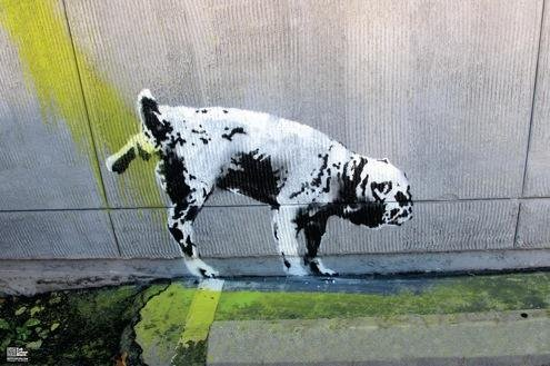 Banksy Peeing Dog Graffiti Stencil Street Art Urban Spray Paint Artist Poster 18x12 - Spray Paint Stencil Art