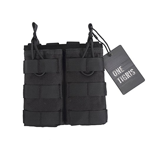 Double Platform Top (OneTigris Tactical MOLLE Double Open-Top Mag Pouch for AR M4 M16 HK416 magazines (Black))