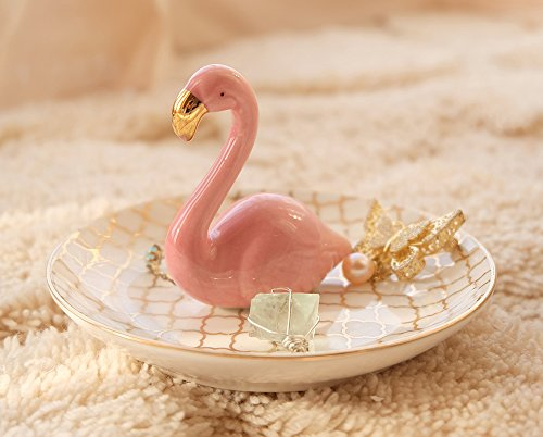 PUDDING CABIN Flamingos Ring Dish Holder Engagement Wedding Gift Ring Display Earrings Necklace Bracelet Jewelry Tray by PUDDING CABIN (Image #4)
