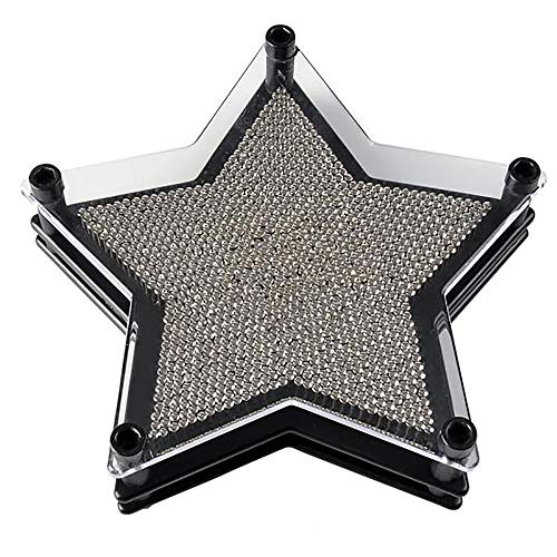 Kicko 6 Inch Star Shaped Pin Art Board - Silver Metal Pinscreen Needle Set - Handprint Sculptures, Novelty Game, Image Carving, Learning Toy, Party Favor and Decoration for Children and Adults