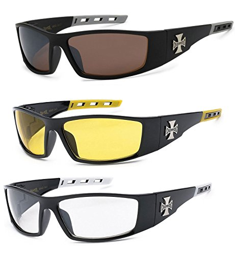 New 3 Pairs Choppers Motorcycle Riding Biker Sports Sunglasses 4 Color Available (Amber, Yellow & - Motorcycle Prescription Riding Sunglasses