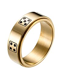 LANHI Men's 8MM Stainless Steel Dice Spins Spinner Ring Band Gold Silver Black