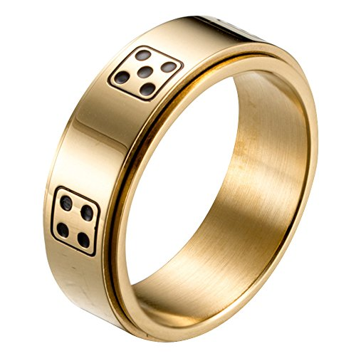 Steel Dice Spins Spinner Ring Band, Gold 8 (Prayer Spin Ring)