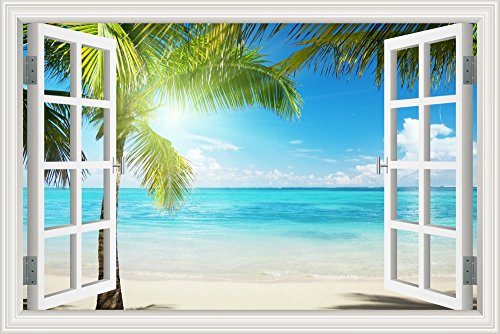 (GreatHomeArt Beautiful White Beach Coconut Tree 3D Window View Wall Sticker Blue Ocean Theme Tropical Island Wall Decor Decals for Bedroom Mural Wallpaper 32