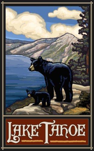 Northwest Art Mall Lake Tahoe Bears by Paul A Lanquist, 11-Inch by - Black Lake Mall