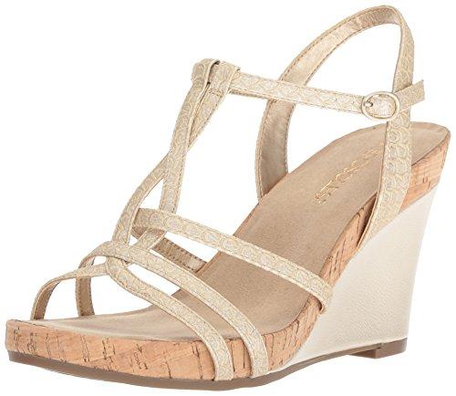 Aerosoles Women's Plush Song Wedge Sandal, Gold Snake, 9 M US - Aerosoles Womens Wedge Shoes