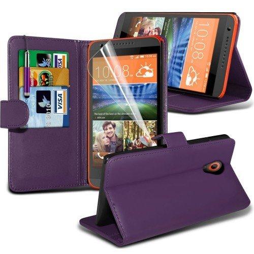 HTC Desire 620 Cubierta del caso con cuero (Púrpura) Plus de regalo libre, Protector de pantalla y un lápiz óptico, Solicitar ahora mejor caja del teléfono Valorado en Amazon! By FinestPhoneCases