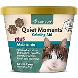 NaturVet -Quiet Moments Calming Aid for Cats Plus Melatonin - 60 Soft Chews | Helps Reduce Stress &...