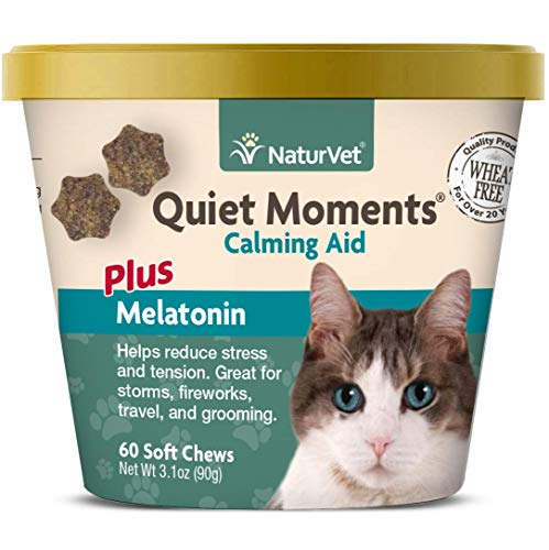 NaturVet -Quiet Moments Calming Aid for Cats Plus Melatonin - 60 Soft Chews | Helps Reduce Stress & Promote Relaxation | Great for Storms, Fireworks, Travel & Grooming ()