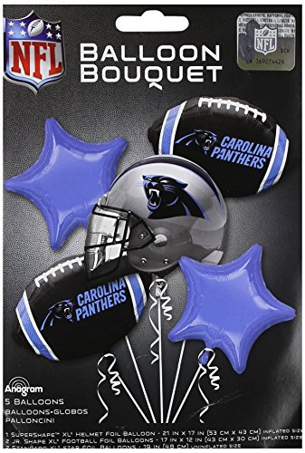 Anagram 31414 Carolina Panthers Balloon Bouquet, Multicolored