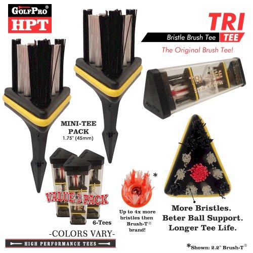 Xlt Brush Tee (Golf Pro HPT Series TRI-TEE Mini-Tee Brush Golf Tee Set (Value)