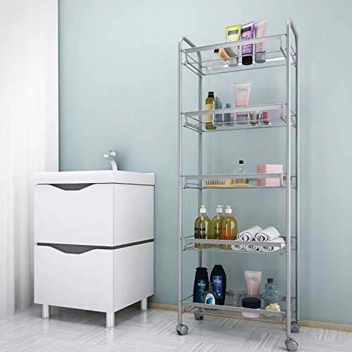 (US Stock)3/4/5-Tier Mesh Wire Rolling Cart ,Flexible Moving Shelving Trolley,Utility Cart Multifunction Kitchen Storage Storage Cart for Living Room Bedroom Bathroom (5 tier, Silver)