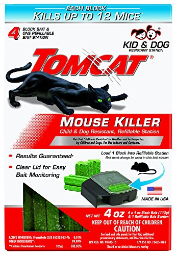 (Tomcat Mouse Killer Refillable Station for Indoor/Outdoor Use - Child and Dog Resistant (1 Station with 4 Baits))
