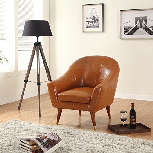 Leather Easy Chair (Divano Roma Furniture Signature Collection Mid Century Bonded Leather Accent Chair,)