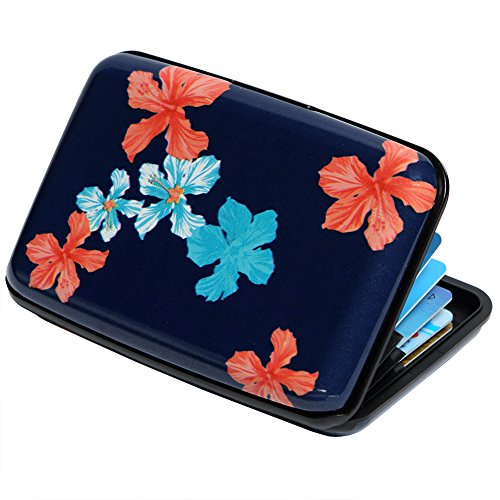 Credit Card Holder Aluminum Wallet RFID Blocking Slim Metal Hard Case (Floral)