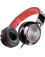 Artix CL750 Opvouwbare, Geluidsisolerende On-Ear Koptelefoon met Draad en Microfoon en Volumeregeling, Stereo Koptelefoon met Snoer en Verstelbare Hoofdband voor Computer, Laptop en Mobiele Telefoon (Zwart/Rood)