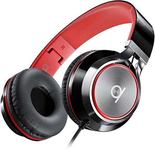 Artix CL750 Foldable Noise Isolating On Ear Headphones Wired with Microphone and Volume Control, Stereo Head Phones Corded with Adjustable Headband for Computer, Laptop and Cell Phone (Black/Red)