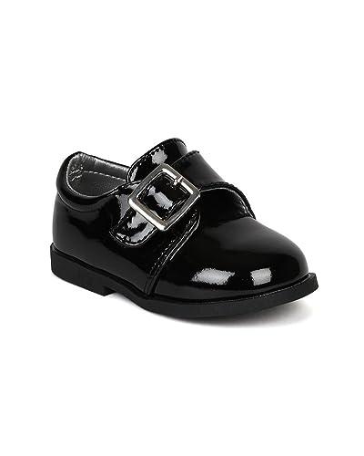 48566e00a Amazon.com  Leatherette Buckle Strap Dress Church Shoe (Infant Baby ...