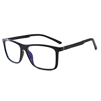 Liangliang Gafas Anti-BLU-Ray Lente De PC Nerd Marco Grande Lentes Azules Que Bloquean La Radiación Anti-Fatiga, Hombres Y Mujeres,Brightblack: Amazon.es: ...