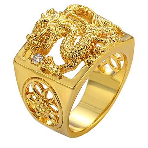24k Gold Inlay - loyoe jewelry 24k Yellow Gold Filled Mens Ring Carved Dragon Play with Ball Pattern Inlay Cubic Zircon Size 11