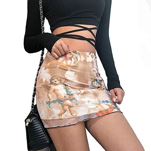 malianna Women Angel Print High Street Skirts High Waist Mesh Mini Skirt Fashion Short Pencil Skirts (S) Pink - Mesh Mini Skirt