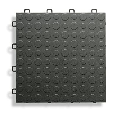 BlockTile B0US4230 Garage Flooring Interlocking Tiles Coin Top Pack, Black, 30-Pack from Gulfcoast Ard, Inc