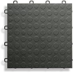 BlockTile B0US4230 Garage Flooring Interlocking Tiles Coin Top Pack, Black, 30-Pack