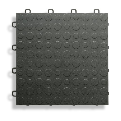 BlockTile B0US4230 Garage Flooring Interlocking Tiles Coin Top Pack,  Black, 30-Pack