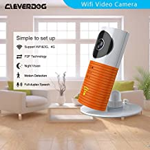Clever dog Wireless security wifi cameras/Smart Baby Monitor/Surveillance security camera with P2P,Night Vision,Record Video,Two-way Audio,Motion Detection,Iphone Ipad Android(with adaptor)(Orange)