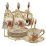Rose Pattern Ivory Ceramic Cups and Saucers Set,Fancy Coffee Cups Set,Pack of 6 with Golden Metal Rack