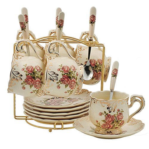 Rose Pattern Ivory Ceramic Cups and Saucers Set,Fancy Coffee Cups Set,Pack of 6 with Golden Metal ()