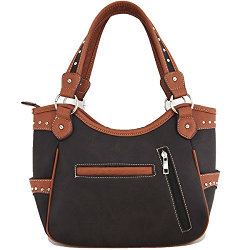 Borse da donna nascoste trasportano il Western Rhinestone Cross Shoulder Bag Brown