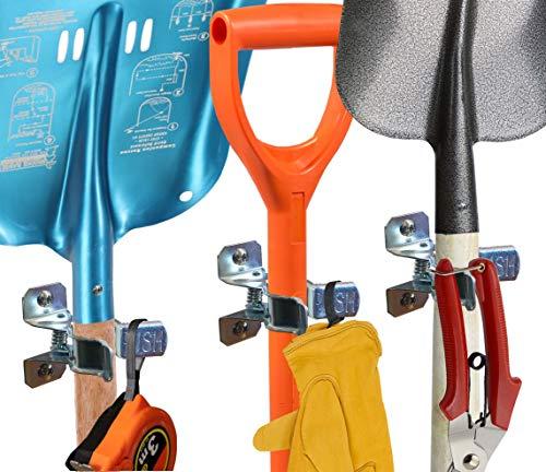 Shovel Holder Wall Mount, 10 Pack, Garden Tool Organizer for Garage, Broom Mop Holder Wall Mounted, Shovel Rack Wall Mount with Mounting Screws, Bonus 2 Garden Tool Hooks from MANOKY