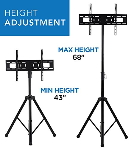 Mount-It! LCD Flat Panel TV Tripod, Portable TV Stand Fits LCD LED Flat Screen TV sizes 32-70 inch, Adjustable Height Pole, Supports up to 77 lbs and VESA 600x400 (MI-874), Black,  Photo #9