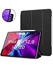 MoKo Smart Folio Case Fit iPad Pro 12.9 4th Generation 2020 & 2018 - [Support i-i-Pencil 2 Charging] Slim Lightweight Smart Shell Stand Cover, Strong Magnetic Adsorption, Auto Wake/Sleep - Black