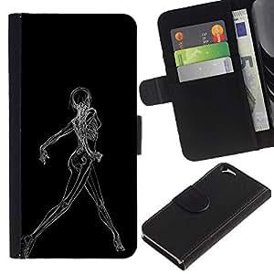 LECELL--Cuero de la tarjeta la carpeta del tirón Smartphone Slots Protección Holder For Apple Iphone 6 -- Sexy Woman raggi X di scheletro --